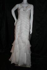 THEIA WHITE WEDDING GOWN FORMAL SILK DRESS 6 ROSES ROSETTES MERMAID NEW $995
