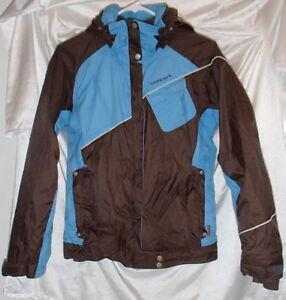 Columbia Convert Hooded Waterproof Snowboard/Ski Jacket Brown/Blue Womens Size S
