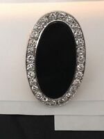 LADOES 14 KT YELLOW GOLD BLACK ONYX AND DIAMOND RING WITH 1.62 carats