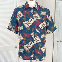 Diane Gilman 100% Silk Blouse Size Small Vintage Shirt Letters Glasses Print