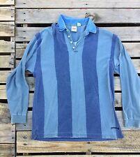 VINTAGE 80s + Original Levi Strauss Men's Long Sleeve Shirt Vertical Stripe XL