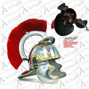 Roman Centurian Helmet Medieval Knight Officer Armor Costume Red Plume Helmet