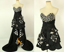 NEW $500 Jovani Black Short Long Gown Prom 2 Dresses in 1 Formal size 2 Straples