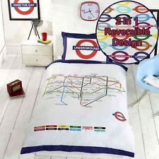 London Tube CARTE Underground simple housse de couette et taie d'oreiller Set