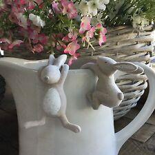 Set di 2 x Coniglietto Pasquale Coniglio bianco Impianto Hanger Pot regalo decorazione Pasqua