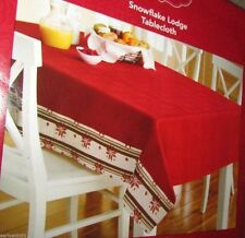 """Snowflake Lodge Red Snowflake Pattern Tablecloth 60"""" X 102"""" Oblong"""