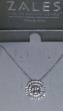 """ZALES Jewelers Sterling Silver White """"In The Round"""" Sapphire Necklace (18 Inch)"""