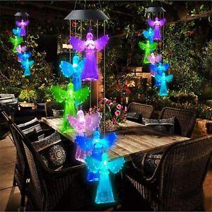 Solar Angel Wind Chime Light Garden Hanging Decor Yard Patio Outdoor Lamp