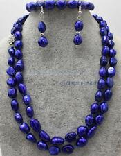 Rare 8-9mm Blue Freshwater Cultured Baroque Pearl Necklace Bracelet Earrings Set