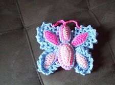 crochet stuffed 5 x 6 1/2 in butterfly toy animal pink + blue