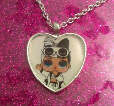Silver Plated Heart Pendant Necklace LOL Doll Surprise Confetti Pop Snuggle Babe