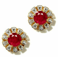 Natural Ruby Men's Cufflink in Solid 925 Sterling Silver Gold Plated Jewelry