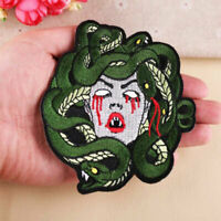 Large Medusa Snake Embroidered Patches Sew Iron On Clothes Badge Fabric Applique