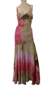 Claudio Milano Women's Maxi Dress Cocktail Party Pink Gown Beaded Size S