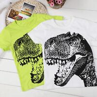 Baby Boy's Summer Clothes Cartoon Short Sleeve Dinosaur Printed T-Shirt Tops SF