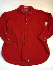 Red Pendleton Wool Cowboy Shirt Men's L Long Pearl Snap Flannel Western Wear