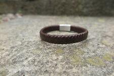Brown Genuine Leather Men Bracelet New