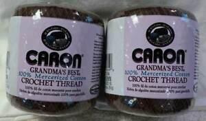 Caron Grandma's Best Crochet Thread Lot of 2 Size 10 Brown 350 Yards