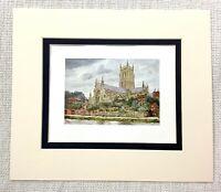 1906 Antico Stampa Worcester Cathedral Landscape Vista Vecchio Inglese
