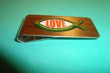 "Christian Fish Image Stainless Steel Money Clip ""Love"" 3D Green-Orange Emblem"