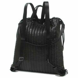 NWB Michael Kors Winnie Large Quilted Nylon Black Drawstring Backpack Dust Bag