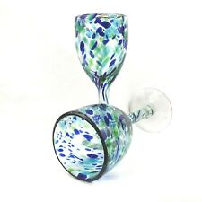 Set of 2 Confetti Blue and Green Handblown Glass Wine Glasses Goblets