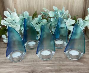 Glass Blue Sailboat Tea Light Candle Holder Nautical Beach Party Decor Lot Of 5