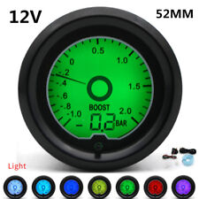 "12V 7 Color LCD Digital Display 2""52mm Turbo Boost Gauge Racing Car Meter+Sensor"