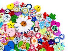 160 X Surtido de madera hermoso y botones de resina-Búhos, Flores Brillo + más