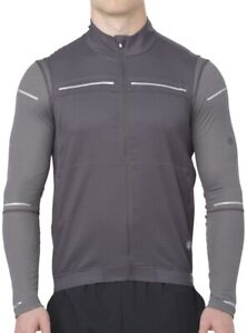 Asics Lite-Show Mens Running Gilet Grey Reflective 360 Degree Visibility Vest