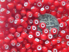 Vintage 2mm RED WHITE HEART Glass Micro Beads NOS New Old Stock! Lot of 250