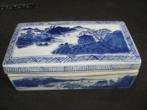 VTG Chinese Blue & White Porcelain Ceramic Lidded Trinket jewelry Box divided