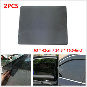 2X Car Side Window Net Sun Shade Shied Solar Mesh Film Sticker UV Protector Tint