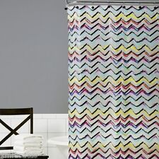 Saturday Knight Symmetry Vinyl Shower Curtain Chevron Colorful Frosted Zig Zag