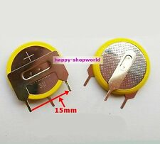 2 x New Tabbed 3V CR2032 Battery Cell Button With 3 solder Tabs/Pins