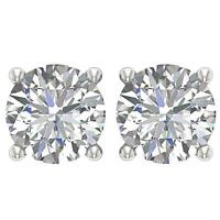 Solitaire Stud Earrings I1 G 1.70Ct Round Cut Diamond 4 Prong Set 14K Solid Gold