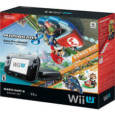 Brand New Nintendo Wii U Mario Kart 8 Deluxe Set 32GB Black Console