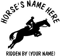 "2 x 10"" (HORSE AND RIDER) HORSE TRAILER, VAN CAR DECALS VINYL GRAPHICS STICKER"
