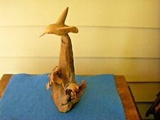 Vintage Hand Carved Hummingbird Sculpture Wood Figurine 1986 Randy Whaley Signed