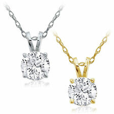 CERTIFIED .50ct 1/2ct GENUINE F/VS2 DIAMOND 14K GOLD SOLITAIRE PENDANT & CHAIN