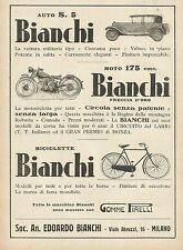Y0646 BIANCHI - Auto - Moto - Biciclette - Pubblicità 1931 - Advertising