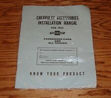 1952 Chevrolet Accessories Installation Manual Cars & Trucks 52 Chevy