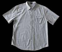 DIADORA | Men's Short Sleeve Button Shirt | Collar | Blue White Stripes | Size L