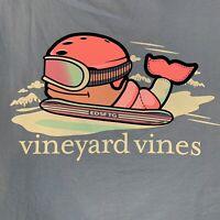 Vineyard Vines Women's Snowboarder Whale Pocket L/S Pocket T-shirt Purple Sz XL