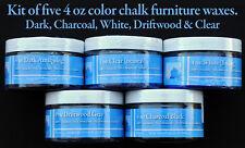 Chalk Furniture Wax Kit Five 4 oz Waxes /Charcoal Driftwood, Clear, White & Dark