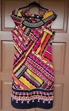 Womens Sangria Dress Career, Cocktail Multi Color Pencil/Wiggle Zip Back Sz 10