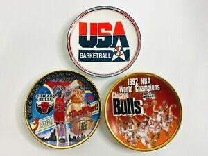 3 1990's Sports Impressions Mini Plates USA Basketball, Chicago Bulls Champs