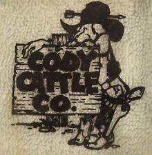 "TQ-064 Cody Cattle Company Advertising Glass Cigarette Ashtray Vintage 3.5x3.5"""
