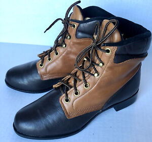Texas All American Made Lace Up Combat 2 Tone Brown Leather Boots Size 5.5