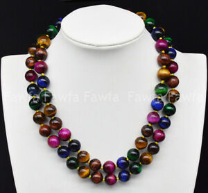 6/8/10/12mm 2 Rows Multicolor Tiger's Eye Gemstone Round Beads Necklace 17-18''